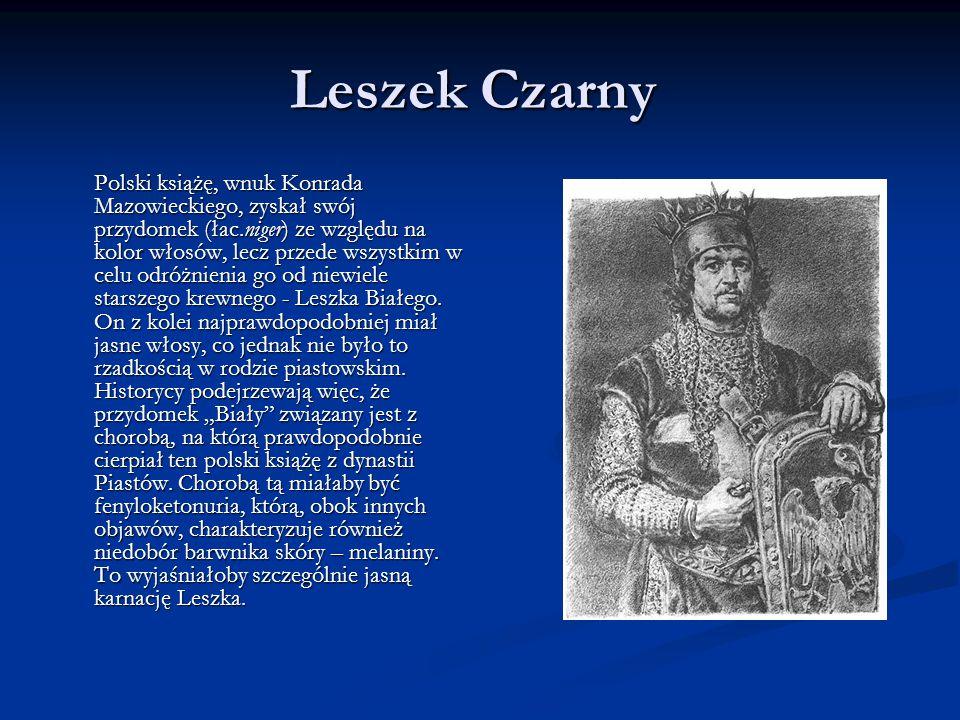 Leszek Czarny Leszek Czarny Polski książę, wnuk Konrada Mazowieckiego, zyskał swój przydomek (łac.niger) ze względu na kolor włosów, lecz przede wszystkim w celu odróżnienia go od niewiele starszego krewnego - Leszka Białego.