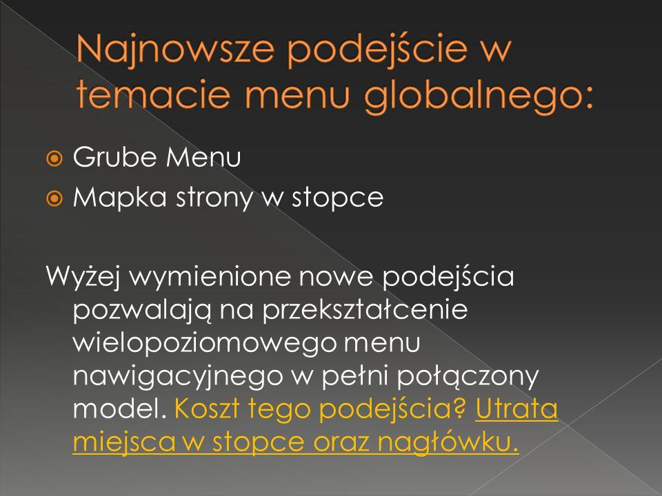  Grube Menu  Mapka strony w stopce Wyżej wymienione nowe podejścia pozwalają na przekształcenie wielopoziomowego menu nawigacyjnego w pełni połączony model.