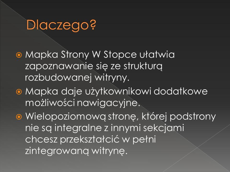  Mapka Strony W Stopce ułatwia zapoznawanie się ze strukturą rozbudowanej witryny.  Mapka daje użytkownikowi dodatkowe możliwości nawigacyjne.  Wie