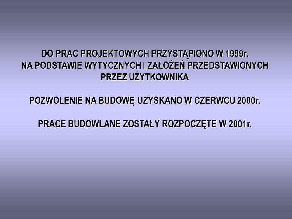 DO PRAC PROJEKTOWYCH PRZYSTĄPIONO W 1999r.