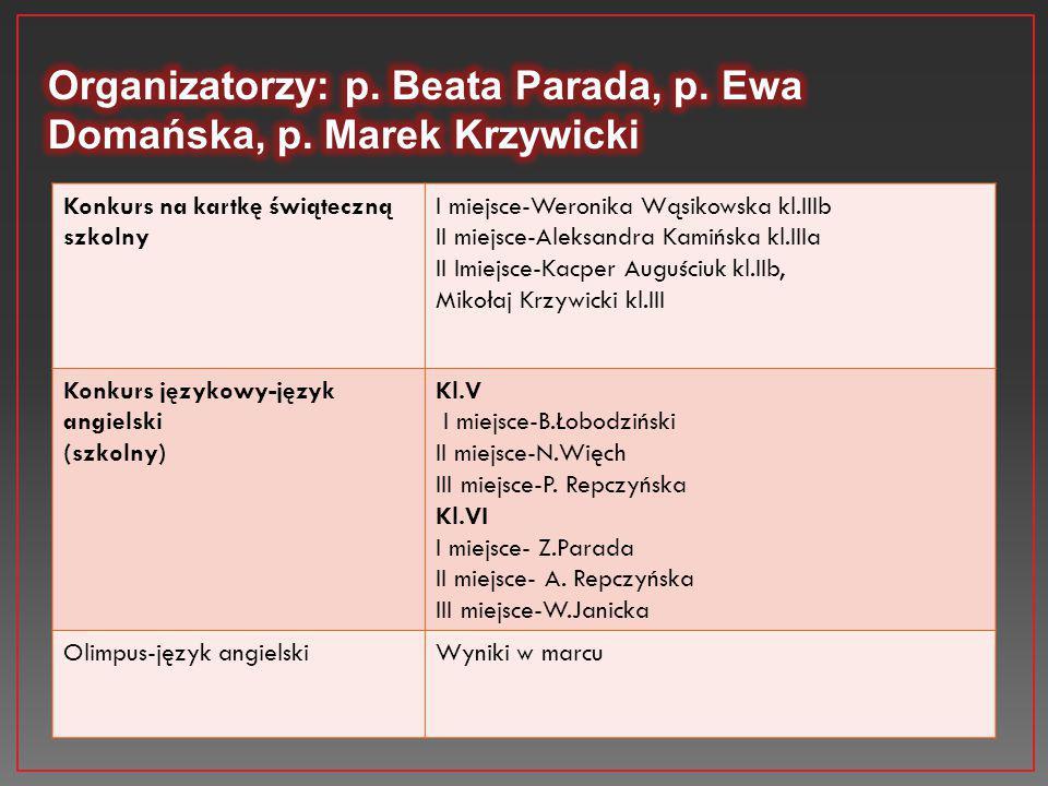 Konkurs na kartkę świąteczną szkolny I miejsce-Weronika Wąsikowska kl.IIIb II miejsce-Aleksandra Kamińska kl.IIIa II Imiejsce-Kacper Auguściuk kl.IIb,