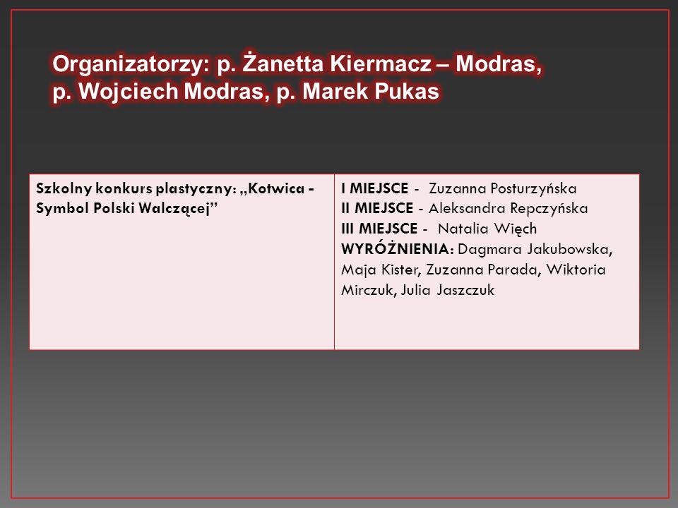 """Szkolny konkurs plastyczny: """"Kotwica - Symbol Polski Walczącej"""" I MIEJSCE - Zuzanna Posturzyńska II MIEJSCE - Aleksandra Repczyńska III MIEJSCE - Nata"""