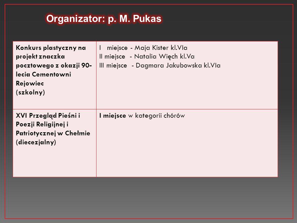 Konkurs plastyczny na projekt znaczka pocztowego z okazji 90- lecia Cementowni Rejowiec (szkolny) I miejsce - Maja Kister kl.VIa II miejsce - Natalia