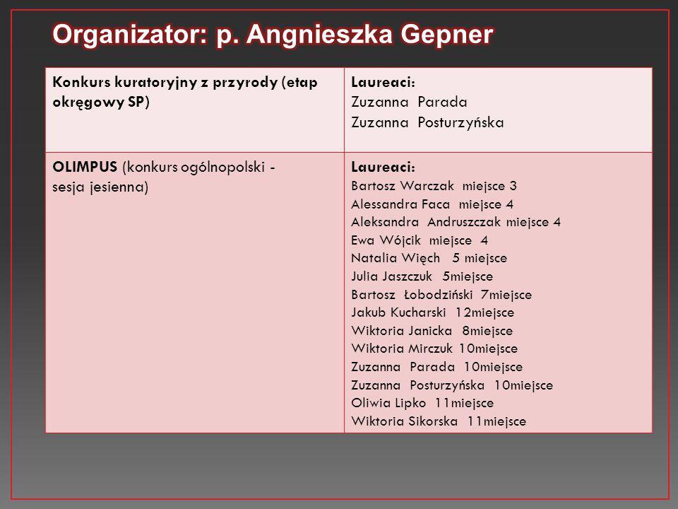 Konkurs kuratoryjny z przyrody (etap okręgowy SP) Laureaci: Zuzanna Parada Zuzanna Posturzyńska OLIMPUS (konkurs ogólnopolski - sesja jesienna) Laurea