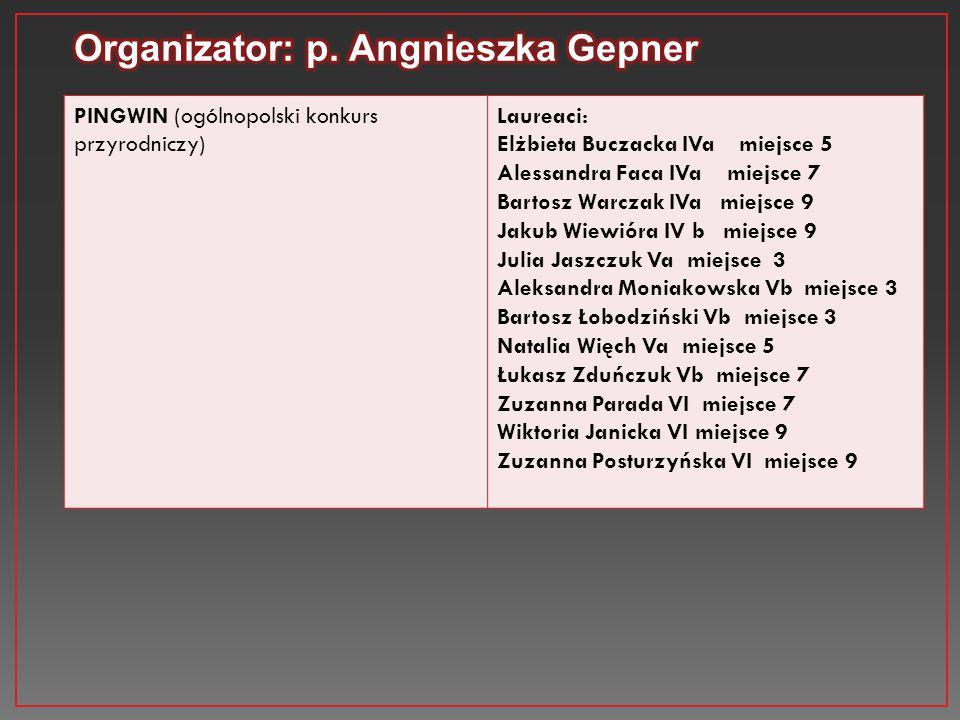 PINGWIN (ogólnopolski konkurs przyrodniczy) Laureaci: Elżbieta Buczacka IVa miejsce 5 Alessandra Faca IVa miejsce 7 Bartosz Warczak IVa miejsce 9 Jaku