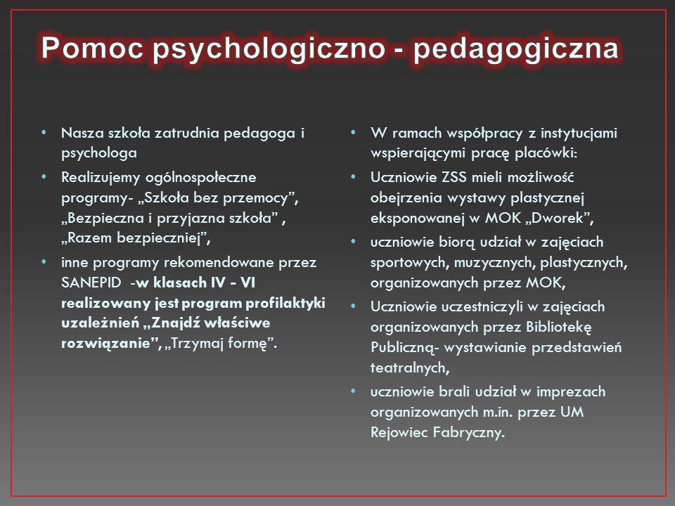 """Nasza szkoła zatrudnia pedagoga i psychologa Realizujemy ogólnospołeczne programy- """"Szkoła bez przemocy"""", """"Bezpieczna i przyjazna szkoła"""", """"Razem bezp"""