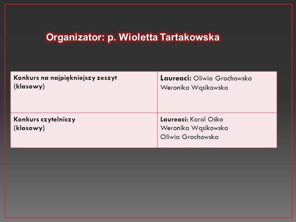 Konkurs na najpiękniejszy zeszyt (klasowy) Laureaci: Oliwia Grochowska Weronika Wąsikowska Konkurs czytelniczy (klasowy) Laureaci: Karol Ośko Weronika