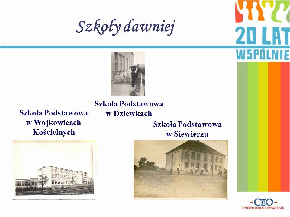 Szkoły dawniej Szkoła Podstawowa w Dziewkach Szkoła Podstawowa w Wojkowicach Kościelnych Szkoła Podstawowa w Siewierzu