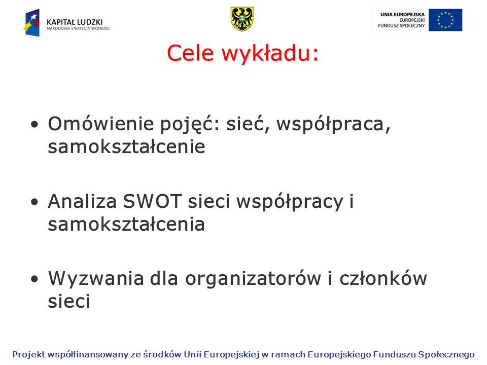 Projekt współfinansowany ze środków Unii Europejskiej w ramach Europejskiego Funduszu Społecznego Cele wykładu: Omówienie pojęć: sieć, współpraca, samokształcenie Analiza SWOT sieci współpracy i samokształcenia Wyzwania dla organizatorów i członków sieci