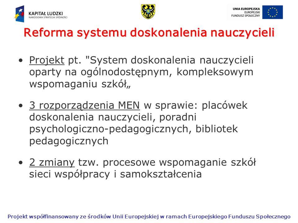 Projekt współfinansowany ze środków Unii Europejskiej w ramach Europejskiego Funduszu Społecznego Reforma systemu doskonalenia nauczycieli Projekt pt.