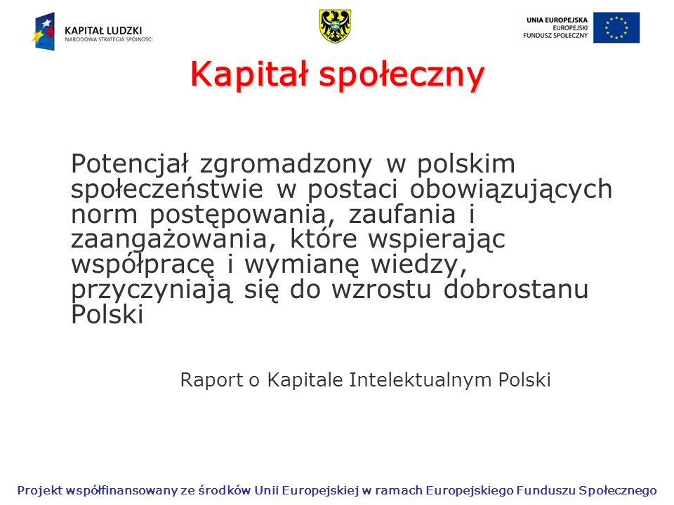 Projekt współfinansowany ze środków Unii Europejskiej w ramach Europejskiego Funduszu Społecznego Kapitał społeczny Potencjał zgromadzony w polskim społeczeństwie w postaci obowiązujących norm postępowania, zaufania i zaangażowania, które wspierając współpracę i wymianę wiedzy, przyczyniają się do wzrostu dobrostanu Polski Raport o Kapitale Intelektualnym Polski