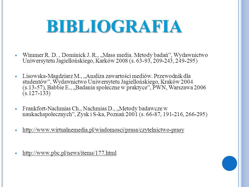 """BIBLIOGRAFIA  Wimmer R. D., Dominick J. R., """"Mass media. Metody badań"""", Wydawnictwo Uniwersytetu Jagiellońskiego, Karków 2008 (s. 63-93, 209-243, 249"""