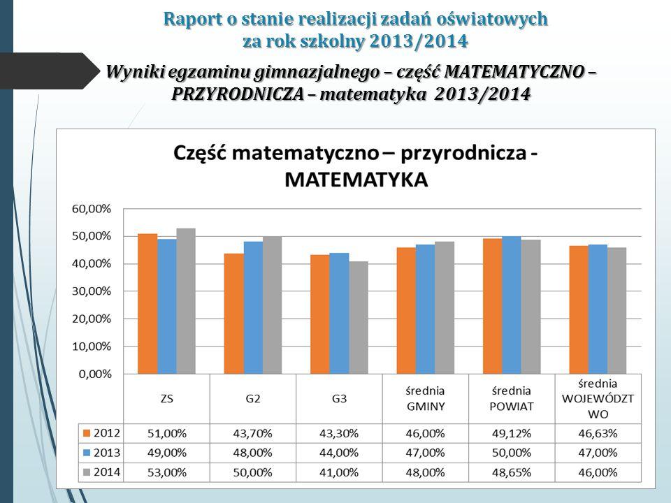 Raport o stanie realizacji zadań oświatowych za rok szkolny 2013/2014 Wyniki egzaminu gimnazjalnego – część MATEMATYCZNO – PRZYRODNICZA – matematyka 2013/2014