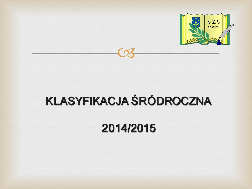  KLASYFIKACJA ŚRÓDROCZNA 2014/2015 S Z S FRAMPOL
