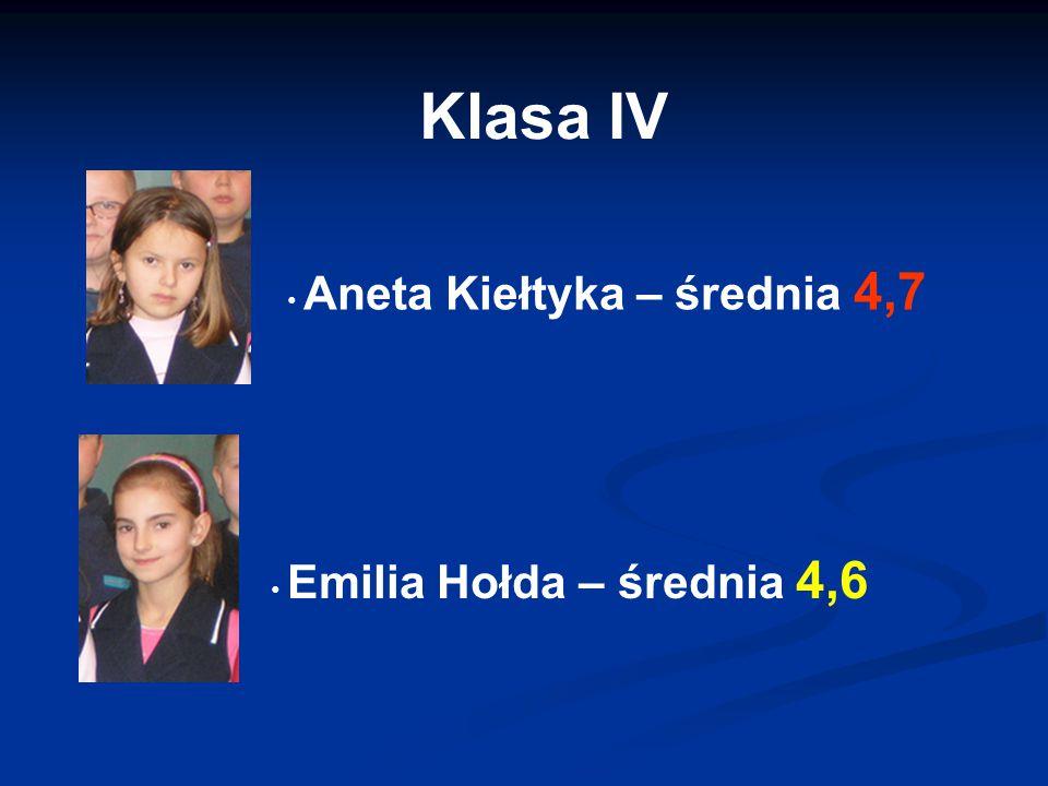 Klasa IV Aneta Kiełtyka – średnia 4,7 Emilia Hołda – średnia 4,6