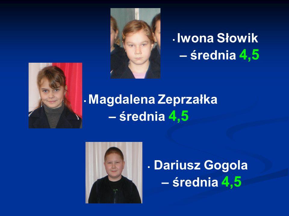 Dariusz Gogola – średnia 4,5 Magdalena Zeprzałka – średnia 4,5 Iwona Słowik – średnia 4,5