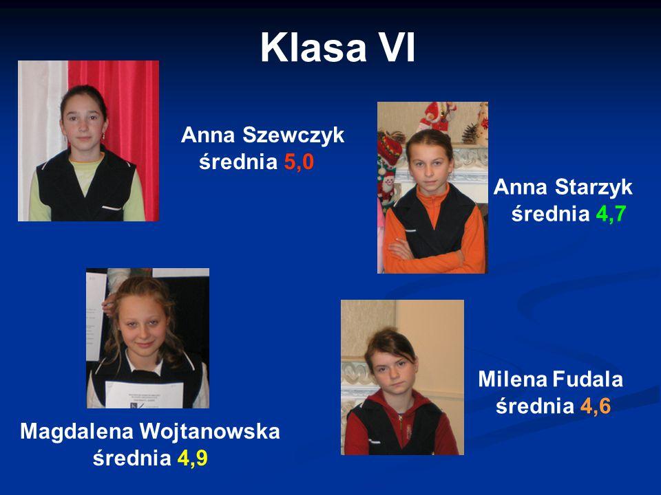 Anna Szewczyk średnia 5,0 Magdalena Wojtanowska średnia 4,9 Klasa VI Anna Starzyk średnia 4,7 Milena Fudala średnia 4,6