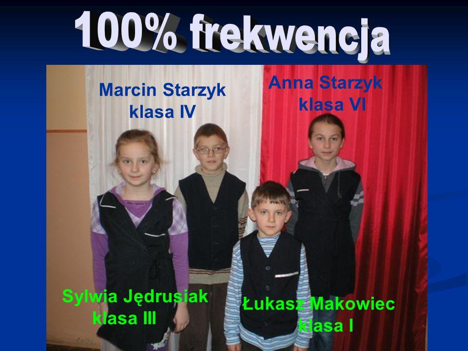Sylwia Jędrusiak klasa III Łukasz Makowiec klasa I Marcin Starzyk klasa IV Anna Starzyk klasa VI