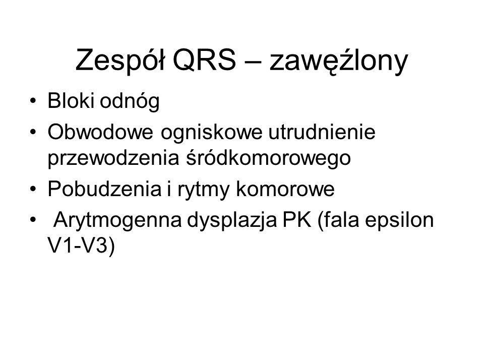 Zespół QRS – zawęźlony Bloki odnóg Obwodowe ogniskowe utrudnienie przewodzenia śródkomorowego Pobudzenia i rytmy komorowe Arytmogenna dysplazja PK (fa
