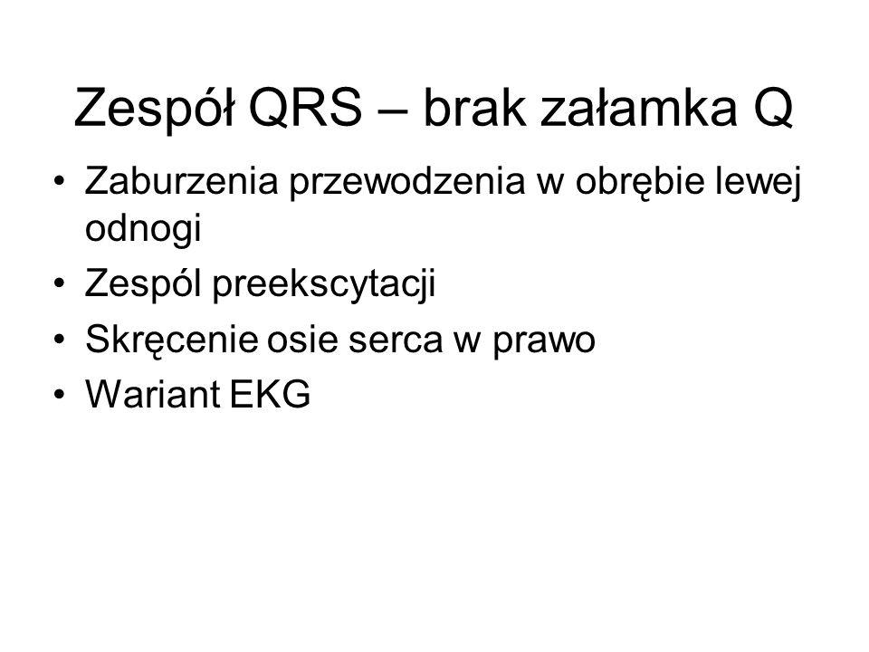 Zespół QRS – brak załamka Q Zaburzenia przewodzenia w obrębie lewej odnogi Zespól preekscytacji Skręcenie osie serca w prawo Wariant EKG