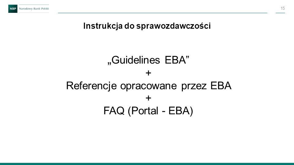 """"""" Guidelines EBA"""" + Referencje opracowane przez EBA + FAQ (Portal - EBA) Instrukcja do sprawozdawczości 15"""