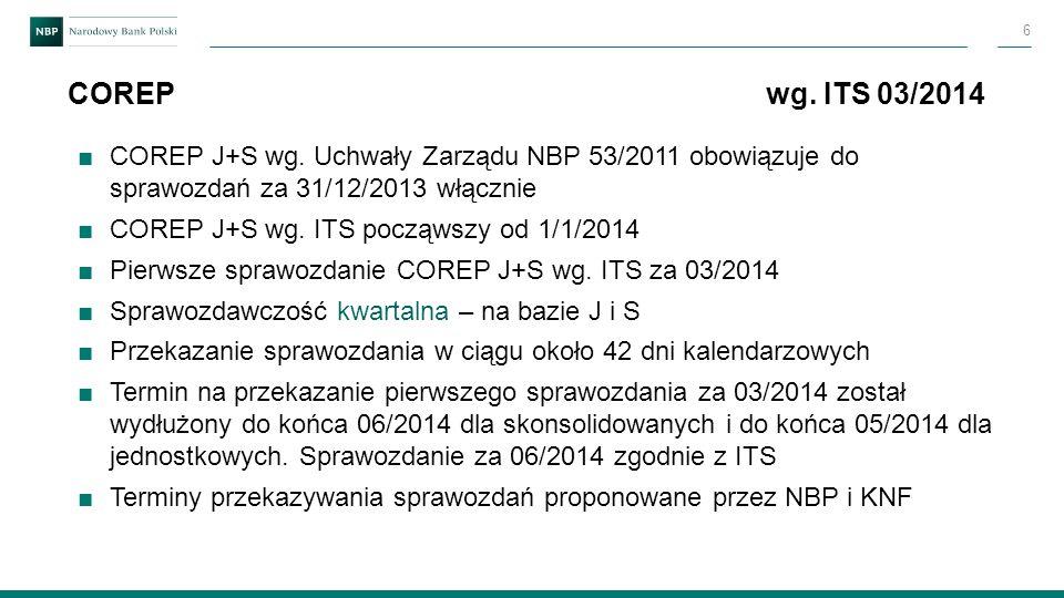 ■COREP J+S wg. Uchwały Zarządu NBP 53/2011 obowiązuje do sprawozdań za 31/12/2013 włącznie ■COREP J+S wg. ITS począwszy od 1/1/2014 ■Pierwsze sprawozd