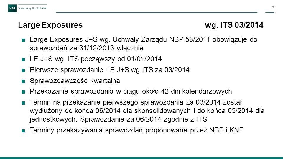 ■Large Exposures J+S wg. Uchwały Zarządu NBP 53/2011 obowiązuje do sprawozdań za 31/12/2013 włącznie ■LE J+S wg. ITS począwszy od 01/01/2014 ■Pierwsze