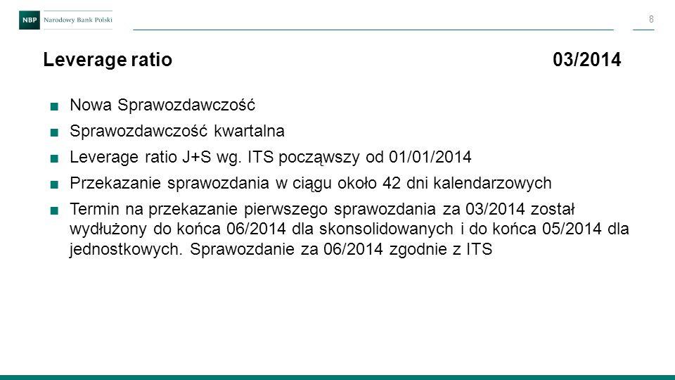 ■Nowa Sprawozdawczość ■Sprawozdawczość kwartalna ■Leverage ratio J+S wg. ITS począwszy od 01/01/2014 ■Przekazanie sprawozdania w ciągu około 42 dni ka