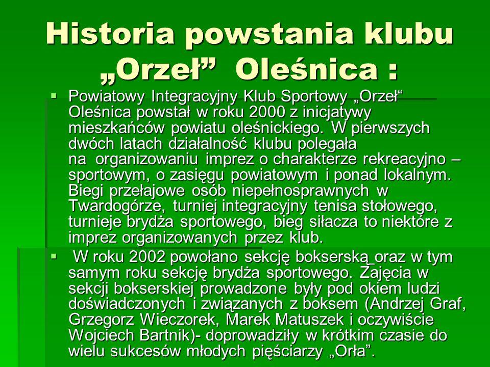 """Historia powstania klubu """"Orzeł Oleśnica :  Powiatowy Integracyjny Klub Sportowy """"Orzeł Oleśnica powstał w roku 2000 z inicjatywy mieszkańców powiatu oleśnickiego."""