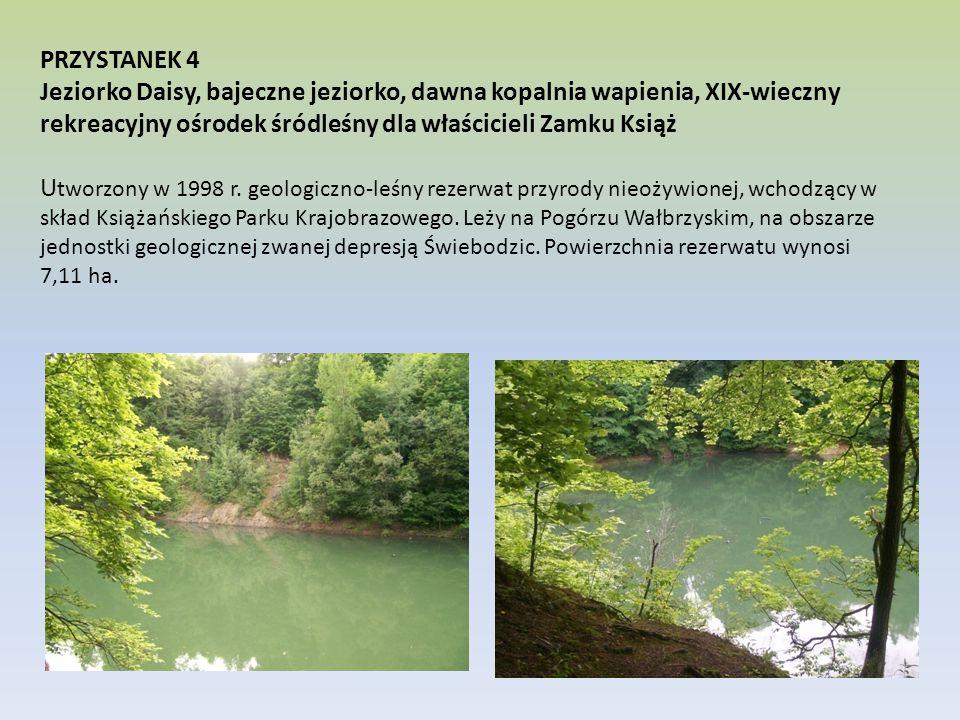 PRZYSTANEK 4 Jeziorko Daisy, bajeczne jeziorko, dawna kopalnia wapienia, XIX-wieczny rekreacyjny ośrodek śródleśny dla właścicieli Zamku Książ U tworz