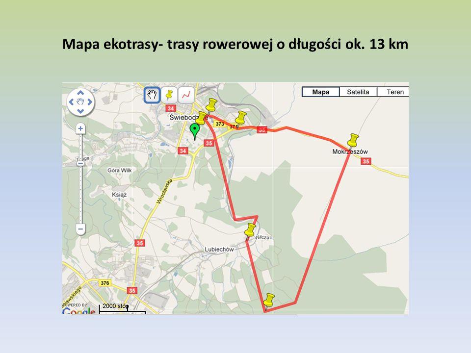 Mapa ekotrasy- trasy rowerowej o długości ok. 13 km