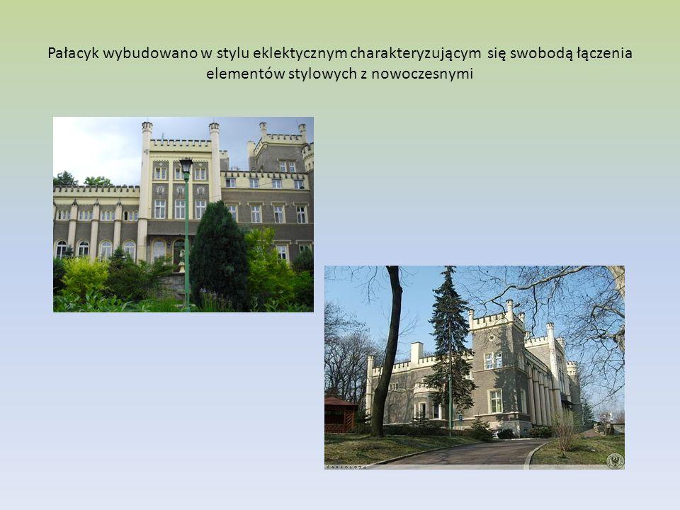 Pałacyk wybudowano w stylu eklektycznym charakteryzującym się swobodą łączenia elementów stylowych z nowoczesnymi