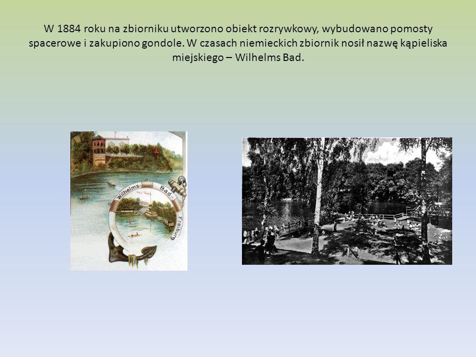 W 1884 roku na zbiorniku utworzono obiekt rozrywkowy, wybudowano pomosty spacerowe i zakupiono gondole. W czasach niemieckich zbiornik nosił nazwę kąp