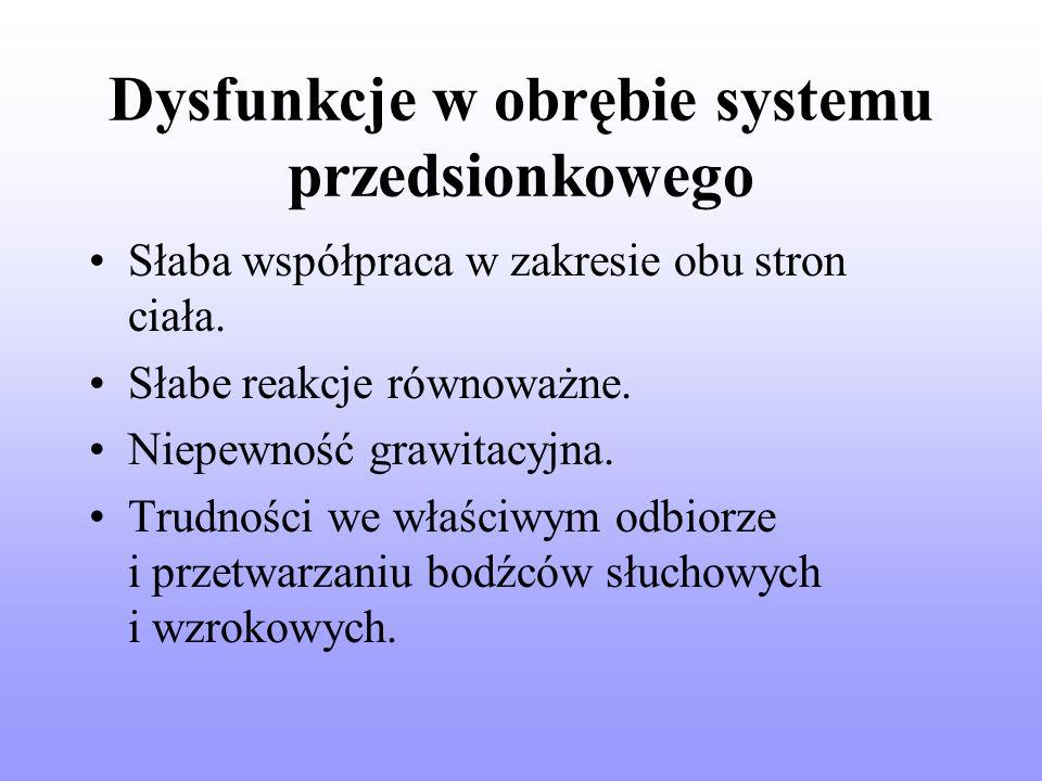 Dysfunkcje w obrębie systemu przedsionkowego Słaba współpraca w zakresie obu stron ciała.