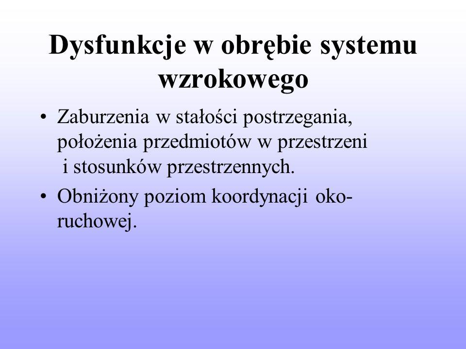 Dysfunkcje w obrębie systemu wzrokowego Zaburzenia w stałości postrzegania, położenia przedmiotów w przestrzeni i stosunków przestrzennych.