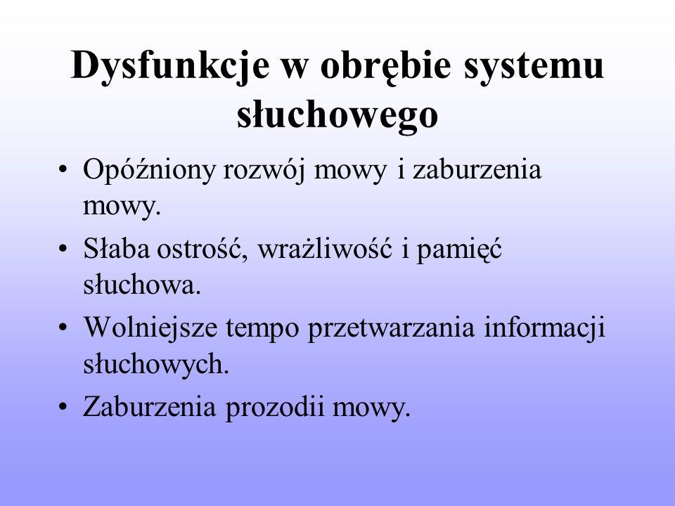 Dysfunkcje w obrębie systemu słuchowego Opóźniony rozwój mowy i zaburzenia mowy.