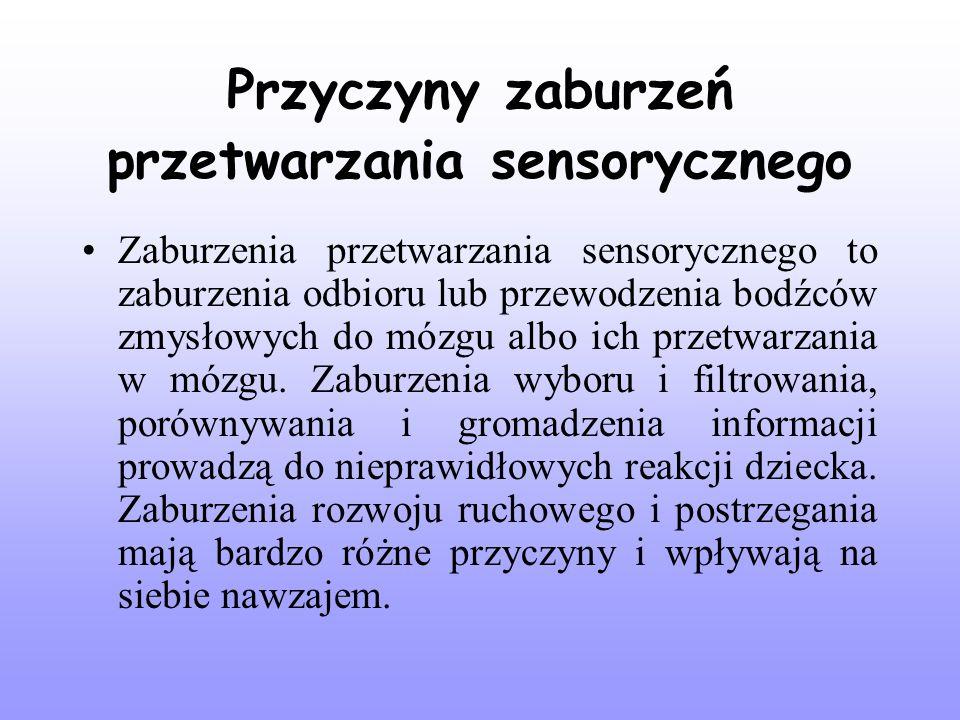 Przyczyny zaburzeń przetwarzania sensorycznego Zaburzenia przetwarzania sensorycznego to zaburzenia odbioru lub przewodzenia bodźców zmysłowych do mózgu albo ich przetwarzania w mózgu.