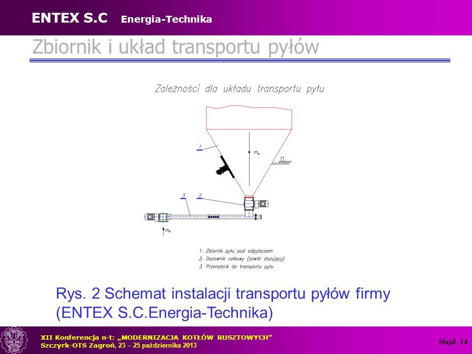 """Slajd 14 Zbiornik i układ transportu pyłów Rys. 2 Schemat instalacji transportu pyłów firmy (ENTEX S.C.Energia-Technika) XII Konferencja n-t: """"MODERNI"""