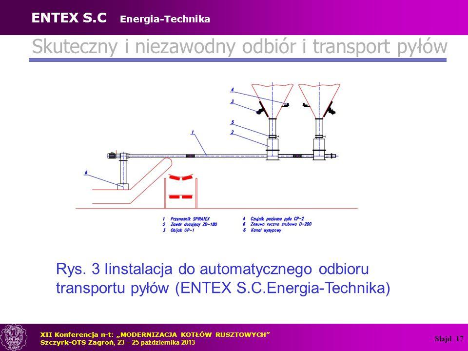 Slajd 17 Skuteczny i niezawodny odbiór i transport pyłów Rys. 3 Iinstalacja do automatycznego odbioru transportu pyłów (ENTEX S.C.Energia-Technika) XI