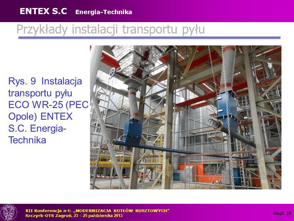 """Slajd 28 Rys. 9 Instalacja transportu pyłu ECO WR-25 (PEC Opole) ENTEX S.C. Energia- Technika XII Konferencja n-t: """"MODERNIZACJA KOTŁÓW RUSZTOWYCH"""" Sz"""