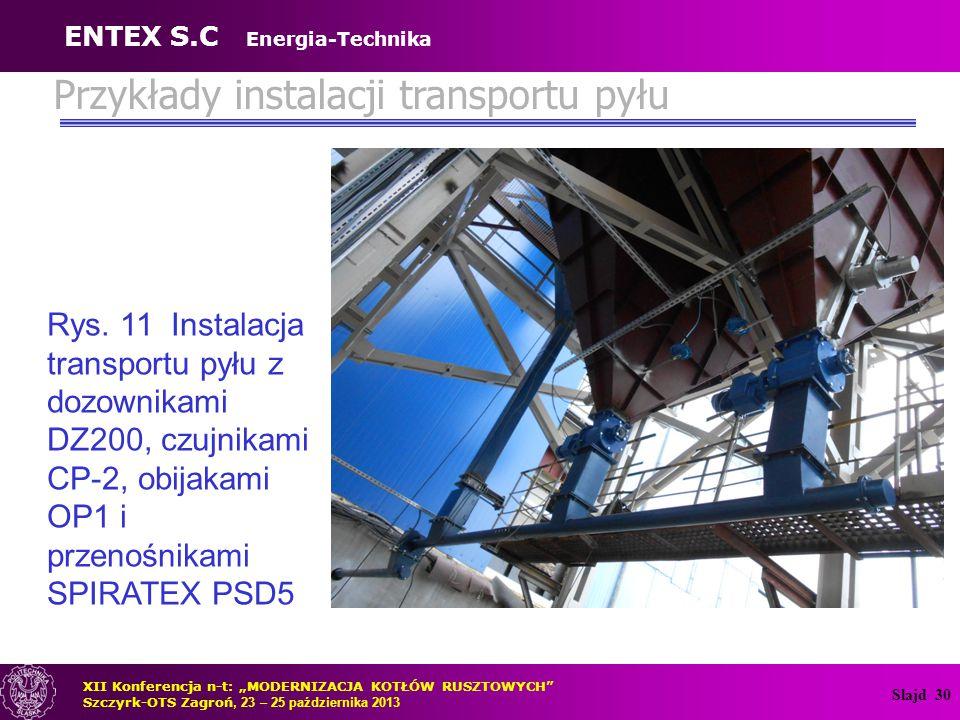 Slajd 30 Przykłady instalacji transportu pyłu Rys. 11 Instalacja transportu pyłu z dozownikami DZ200, czujnikami CP-2, obijakami OP1 i przenośnikami S