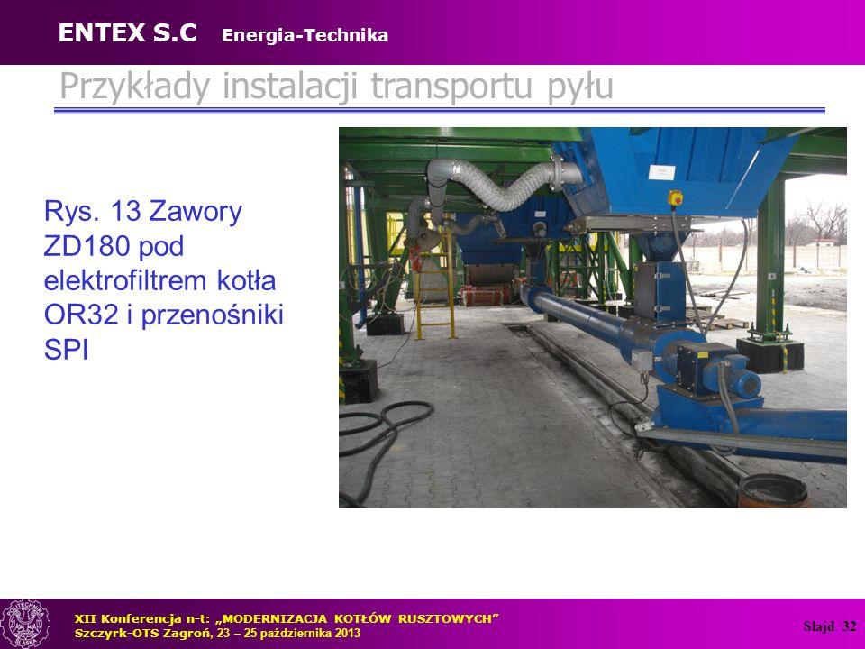 """Slajd 32 Przykłady instalacji transportu pyłu Rys. 13 Zawory ZD180 pod elektrofiltrem kotła OR32 i przenośniki SPI XII Konferencja n-t: """"MODERNIZACJA"""