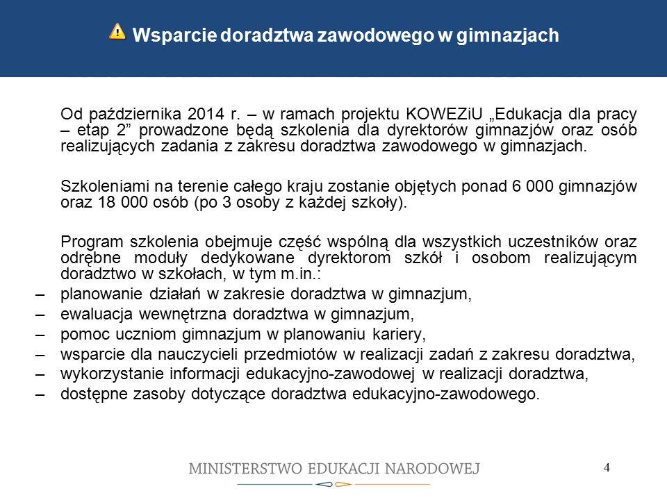 5 5 Kontynuacja wdrażania zmian wprowadzonych we wrześniu 2012 Rozporządzenie Ministra Edukacji Narodowej z dnia 8 sierpnia 2014 r.