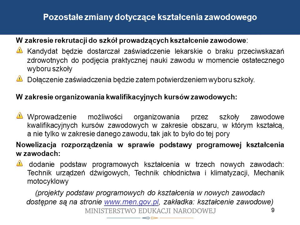 Cele reformy wprowadzonej 1 września 2012 r. W zakresie rekrutacji do szkół prowadzących kształcenie zawodowe: Kandydat będzie dostarczał zaświadczeni