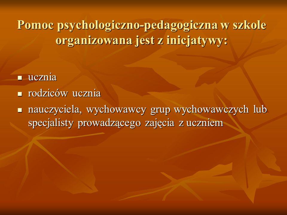 Pomoc psychologiczno-pedagogiczna w szkole organizowana jest z inicjatywy: ucznia ucznia rodziców ucznia rodziców ucznia nauczyciela, wychowawcy grup