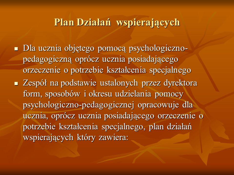 Plan Działań wspierających Dla ucznia objętego pomocą psychologiczno- pedagogiczną oprócz ucznia posiadającego orzeczenie o potrzebie kształcenia spec