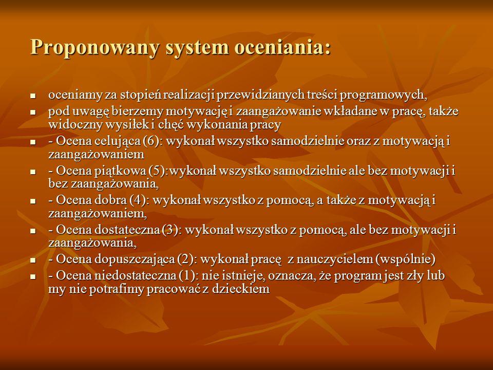 Proponowany system oceniania: oceniamy za stopień realizacji przewidzianych treści programowych, oceniamy za stopień realizacji przewidzianych treści