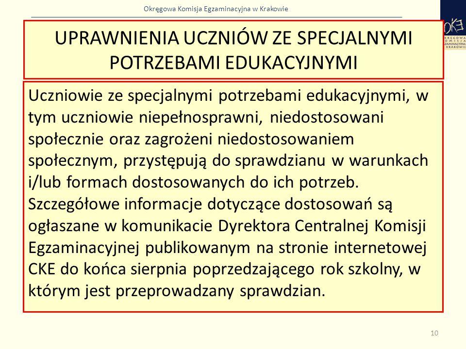 Okręgowa Komisja Egzaminacyjna w Krakowie UPRAWNIENIA UCZNIÓW ZE SPECJALNYMI POTRZEBAMI EDUKACYJNYMI Uczniowie ze specjalnymi potrzebami edukacyjnymi,
