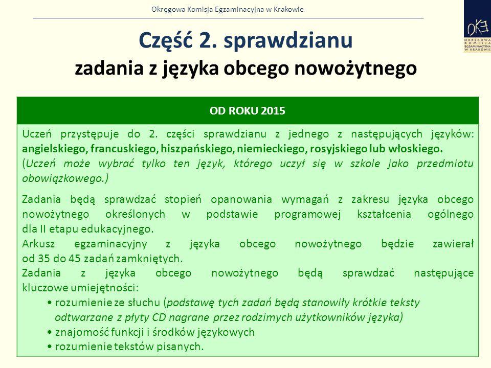 Okręgowa Komisja Egzaminacyjna w Krakowie Część 2. sprawdzianu zadania z języka obcego nowożytnego 14 OD ROKU 2015 Uczeń przystępuje do 2. części spra