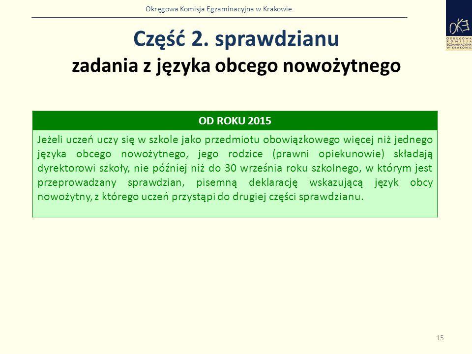 Okręgowa Komisja Egzaminacyjna w Krakowie Część 2. sprawdzianu zadania z języka obcego nowożytnego 15 OD ROKU 2015 Jeżeli uczeń uczy się w szkole jako